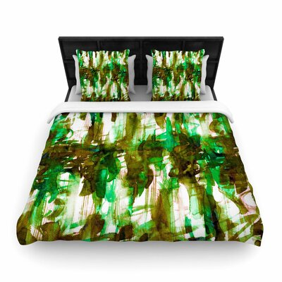Ebi Emporium White Noise Woven Duvet Cover Size: King, Color: Green Olive