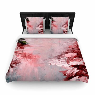 Ebi Emporium Winter Dreamland Woven Duvet Cover Color: Red/Gray, Size: King