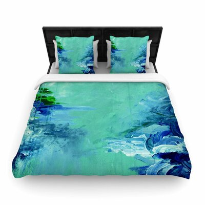 Ebi Emporium Winter Dreamland Woven Duvet Cover Color: Green/Blue, Size: King