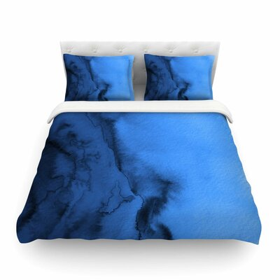 Ebi Emporium Winter Waves Painting Featherweight Duvet Cover Size: King, Color: Blue/Black