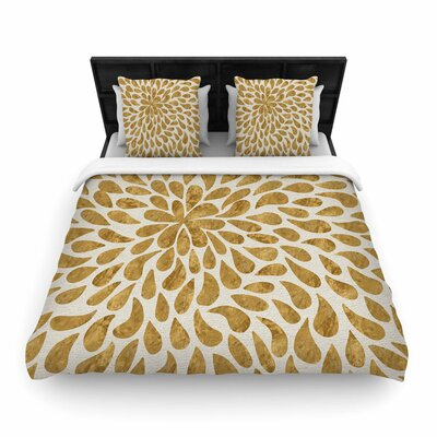 888 Abstract Golden Flower Woven Duvet Cover Size: Full/Queen