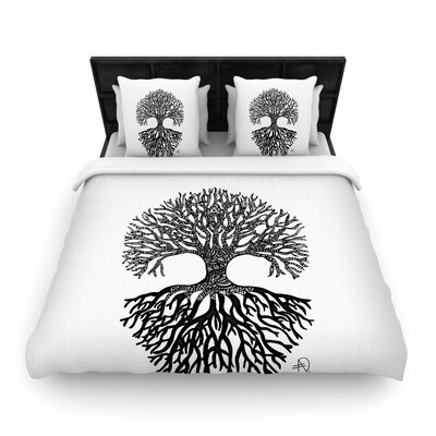 Adriana De Leon The Tree of Life Woven Duvet Cover Size: King