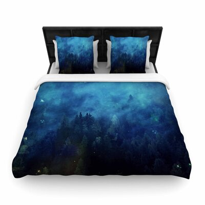 888 Blue Night Forest Woven Duvet Cover Size: King