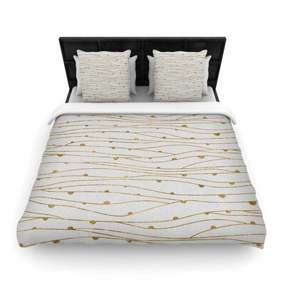 888 Golden Stripes Pattern Woven Duvet Cover Size: King