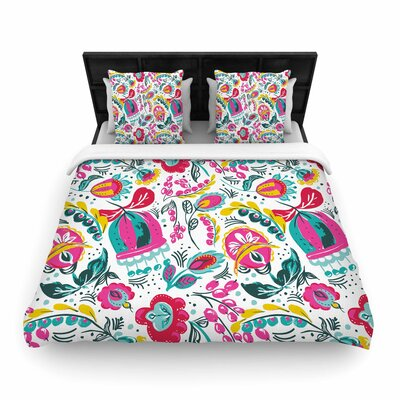 Agnes Schugardt Folk in the Field Floral Pattern Woven Duvet Cover Size: King
