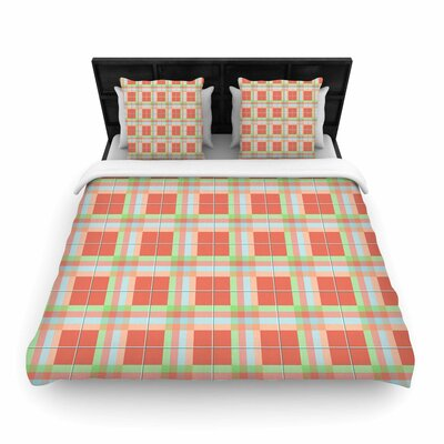 Summer Plaid Pattern Coral Pattern Woven Duvet Cover Size: King