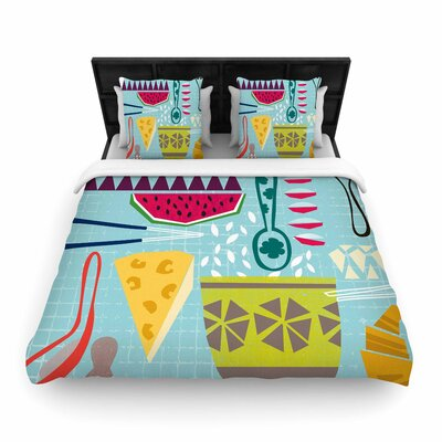 Agnes Schugardt 'Dinner Out' Food Vintage Woven Duvet Cover Size: Twin