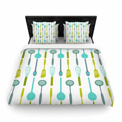 AFE images Kitchen Utensils Olive Illustration Woven Duvet Cover Size: Twin