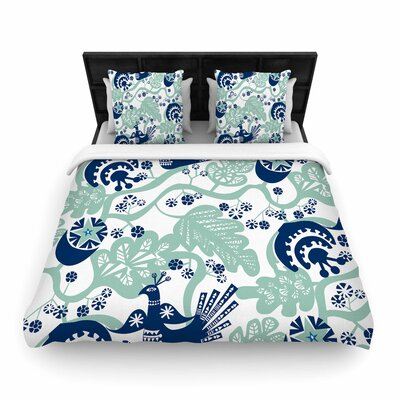 Agnes Schugardt Folk Birds Vector Woven Duvet Cover Size: King