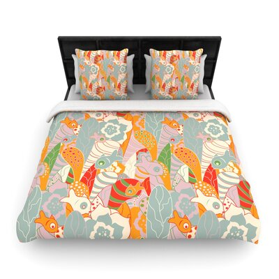 Akwaflorell Fishes Here, Fishes There II Woven Duvet Cover Size: Full/Queen
