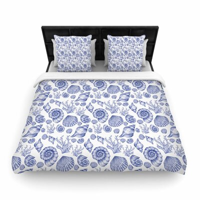 Alisa Drukman Seashells Woven Duvet Cover Color: Blue, Size: King