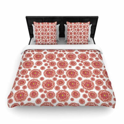 Alisa Drukman 'Orange flowers. Gerbera' Floral Pattern Woven Duvet Cover Size: Full/Queen