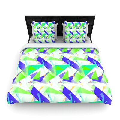 Alison Coxon Confetti Triangles Woven Duvet Cover Color: Green/Teal, Size: King