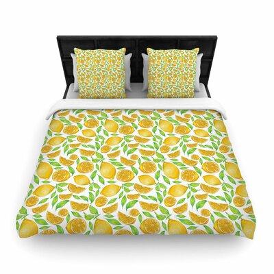 Alisa Drukman Lemons Floral Woven Duvet Cover Size: Twin