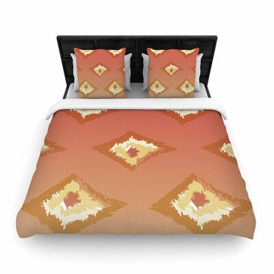 Alison Coxon Ombre Ikat Woven Duvet Cover Color: Orange/Yellow, Size: King