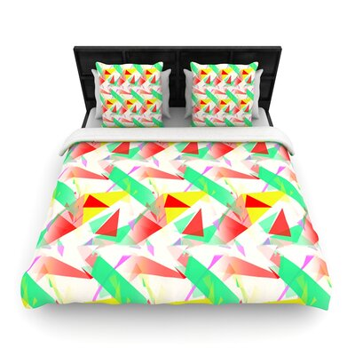 Alison Coxon Confetti Triangles Woven Duvet Cover Size: King, Color: Green/Red