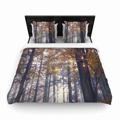 Alison Coxon Autumn Sunbeams Trees Photography Woven Duvet Cover Size: King