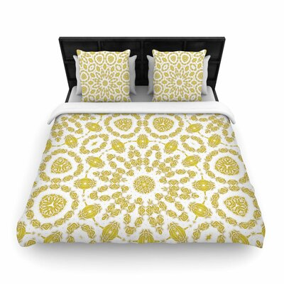 Alison Coxon Mandala Woven Duvet Cover Color: Yellow, Size: Full/Queen