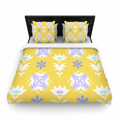 Alison Coxon Edwardian Tile Woven Duvet Cover Size: Full/Queen, Color: Yellow