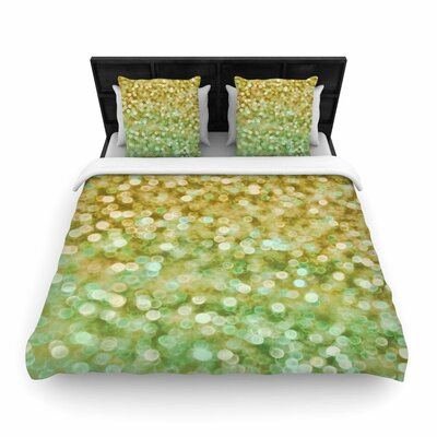 Alison Coxon Gold and Mint Sparkle Woven Duvet Cover Size: Twin