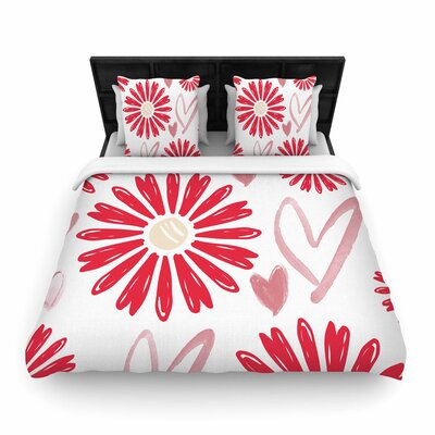 Alison Coxon Hearts and Flowers Love Pink Woven Duvet Cover Size: King