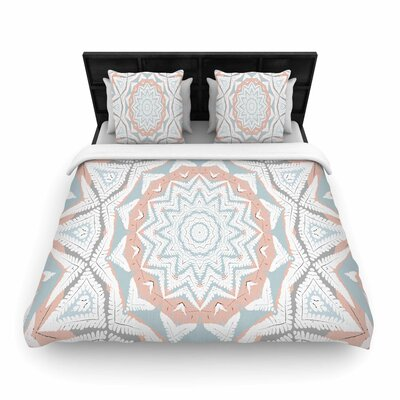 Alison Coxon Plant House Mandala Woven Duvet Cover Size: Full/Queen, Color: Coral/Blue