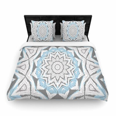 Alison Coxon Plant House Mandala Woven Duvet Cover Color: Blue/Beige, Size: Full/Queen