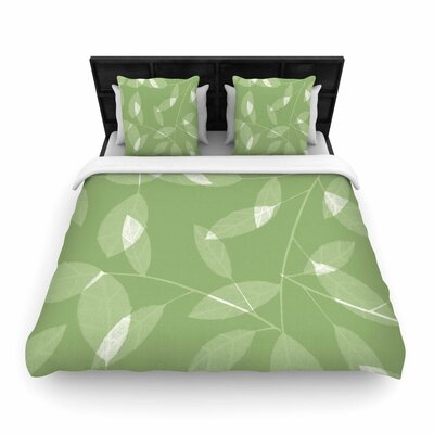 Alison Coxon Leaf Woven Duvet Cover Color: Green, Size: Full/Queen