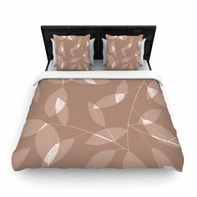 Alison Coxon Leaf Woven Duvet Cover Color: Brown, Size: King