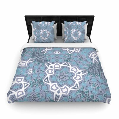Alison Coxon Tribal Woven Duvet Cover Color: Blue/White, Size: Full/Queen