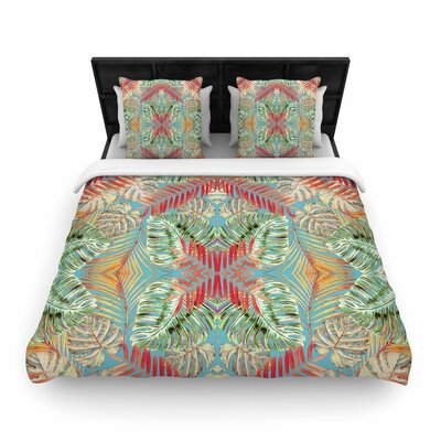 Alison Coxon Summer Jungle Love Woven Duvet Cover Color: Blue/Aqua, Size: King