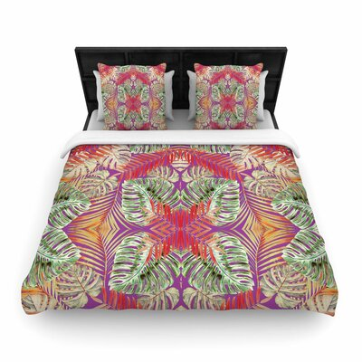 Alison Coxon Summer Jungle Love Woven Duvet Cover Color: Red/Aqua