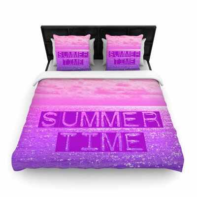 Alison Coxon Summer Time Typography Woven Duvet Cover Size: Twin