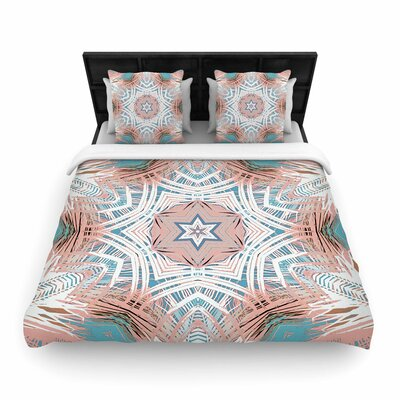 Alison Coxon Tribe Coral and Teal Woven Duvet Cover Size: King
