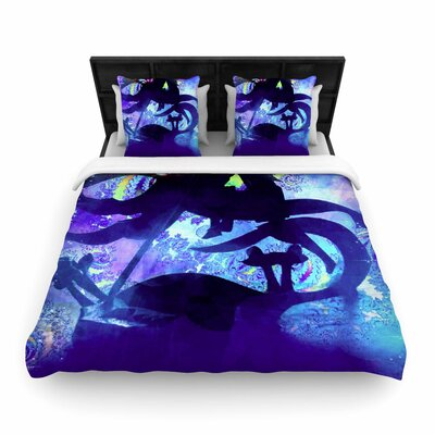 AlyZen Moonshadow Midnight Horse Woven Duvet Cover Size: Full/Queen