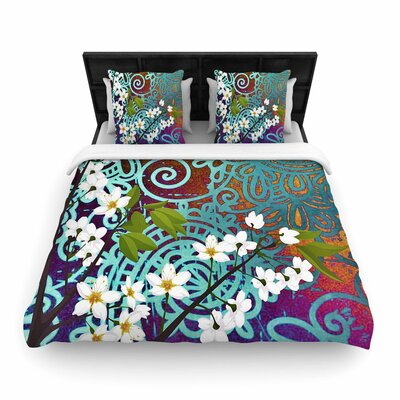 AlyZen Moonshadow Bird and Blossom Woven Duvet Cover Size: Full/Queen