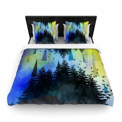 AlyZen Moonshadow As Above, So Below Woven Duvet Cover Color: Blue/Yellow, Size: Full/Queen