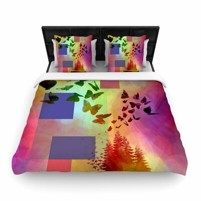 AlyZen Moonshadow Teacup Fantasy Birds Woven Duvet Cover Size: Twin