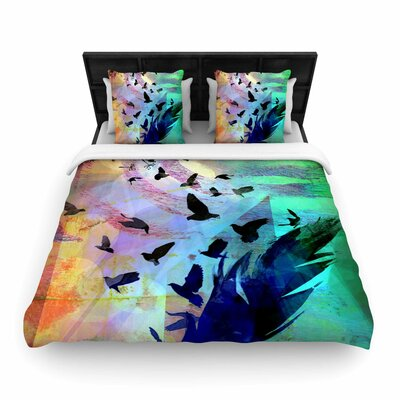 AlyZen Moonshadow Not Quite Birds of a Feather Woven Duvet Cover Size: King