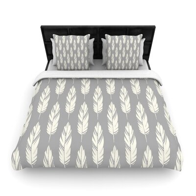 Amanda Lane Feathers Woven Duvet Cover Size: Full/Queen, Color: Gray