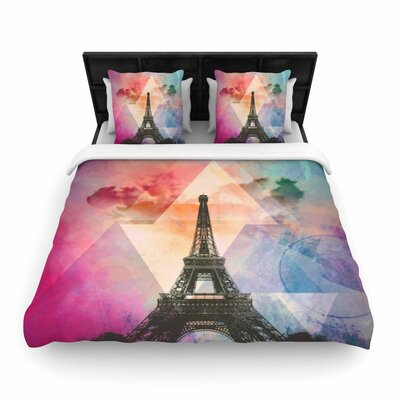 Alyzen Moonshadow Eiffel Tower France Travel Woven Duvet Cover Color: Pink, Size: Twin
