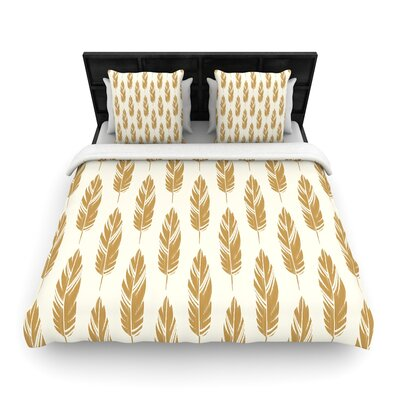 Amanda Lane Feathers Woven Duvet Cover Size: Full/Queen, Color: Yellow