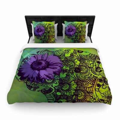 AlyZen Moonshadow Silhouette Woven Duvet Cover Color: Green, Size: Full/Queen