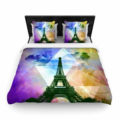 Alyzen Moonshadow Eiffel Tower France Travel Woven Duvet Cover Color: Yellow, Size: King