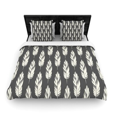 Amanda Lane Feathers Woven Duvet Cover Size: King, Color: Black