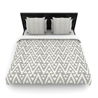 Amanda Lane Geo Tribal Aztec Woven Duvet Cover Color: Gray, Size: Full/Queen