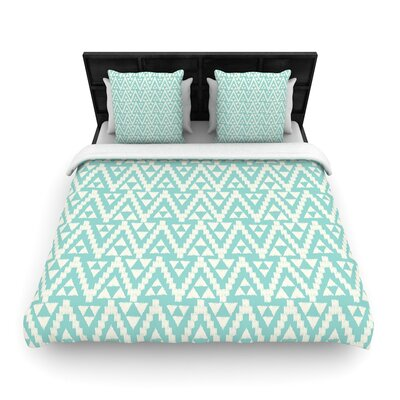 Amanda Lane Geo Tribal Aztec Woven Duvet Cover Color: Teal, Size: King