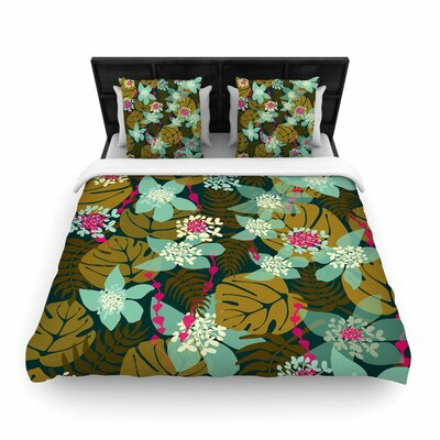 Amy Reber Green Tropical Tropical Floral Woven Duvet Cover Size: Twin