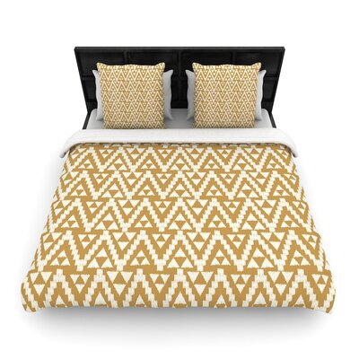 Amanda Lane Geo Tribal Aztec Woven Duvet Cover Color: Yellow, Size: King
