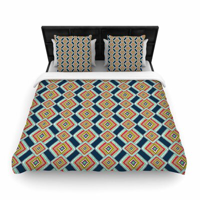 Amy Reber Rainbow Ikat Woven Duvet Cover Size: King